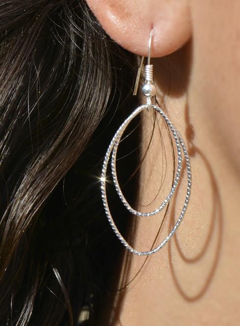 Boucles d'oreilles femme double cercles