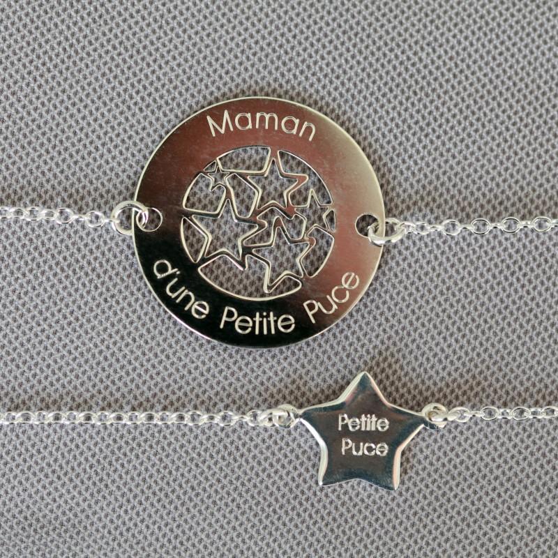 Duo de bracelets MAMAN BÉBÉ – Maman d'une Petite Puce – Petite Puce – ARGENT 925