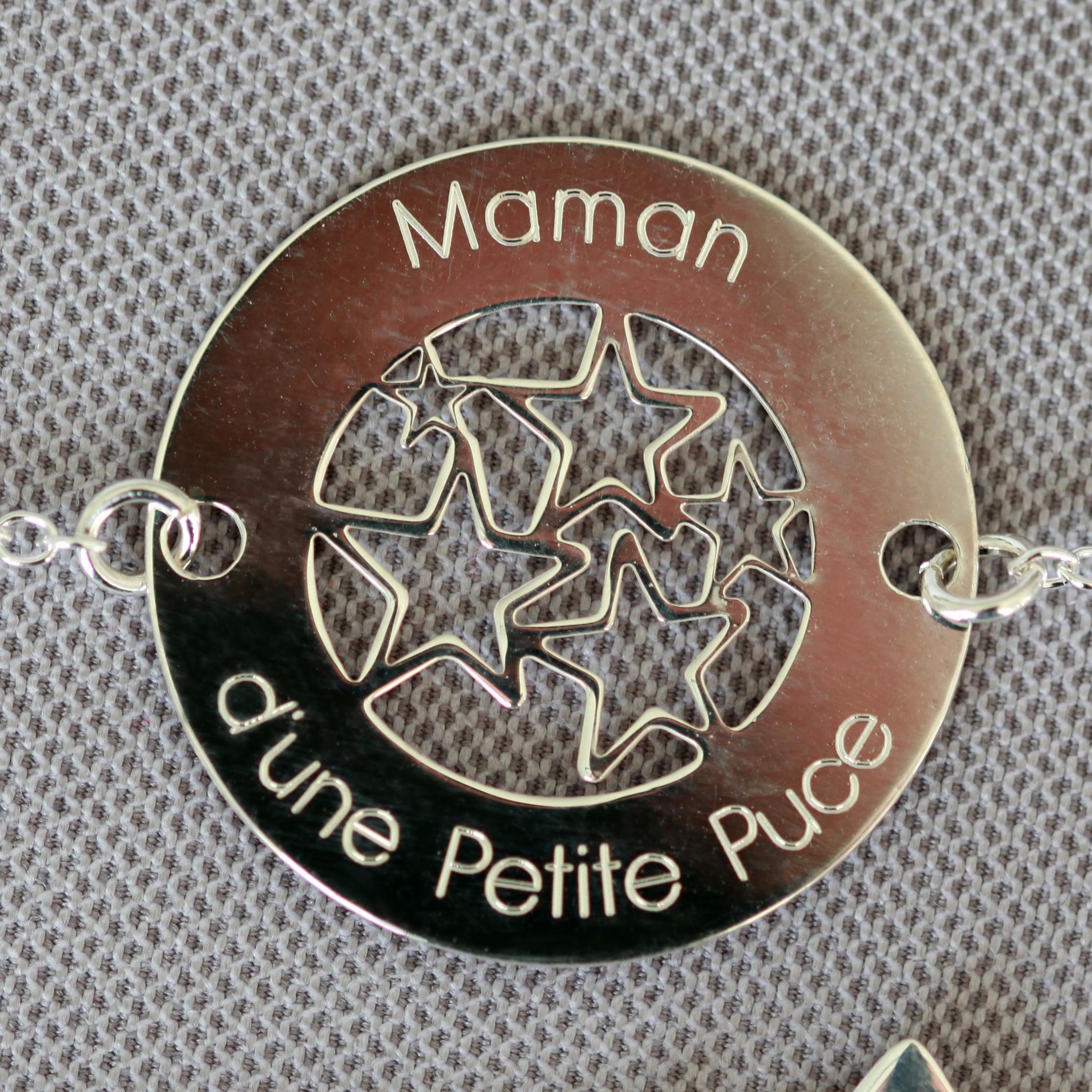 bracelet argent 925 maman d'une petite puce