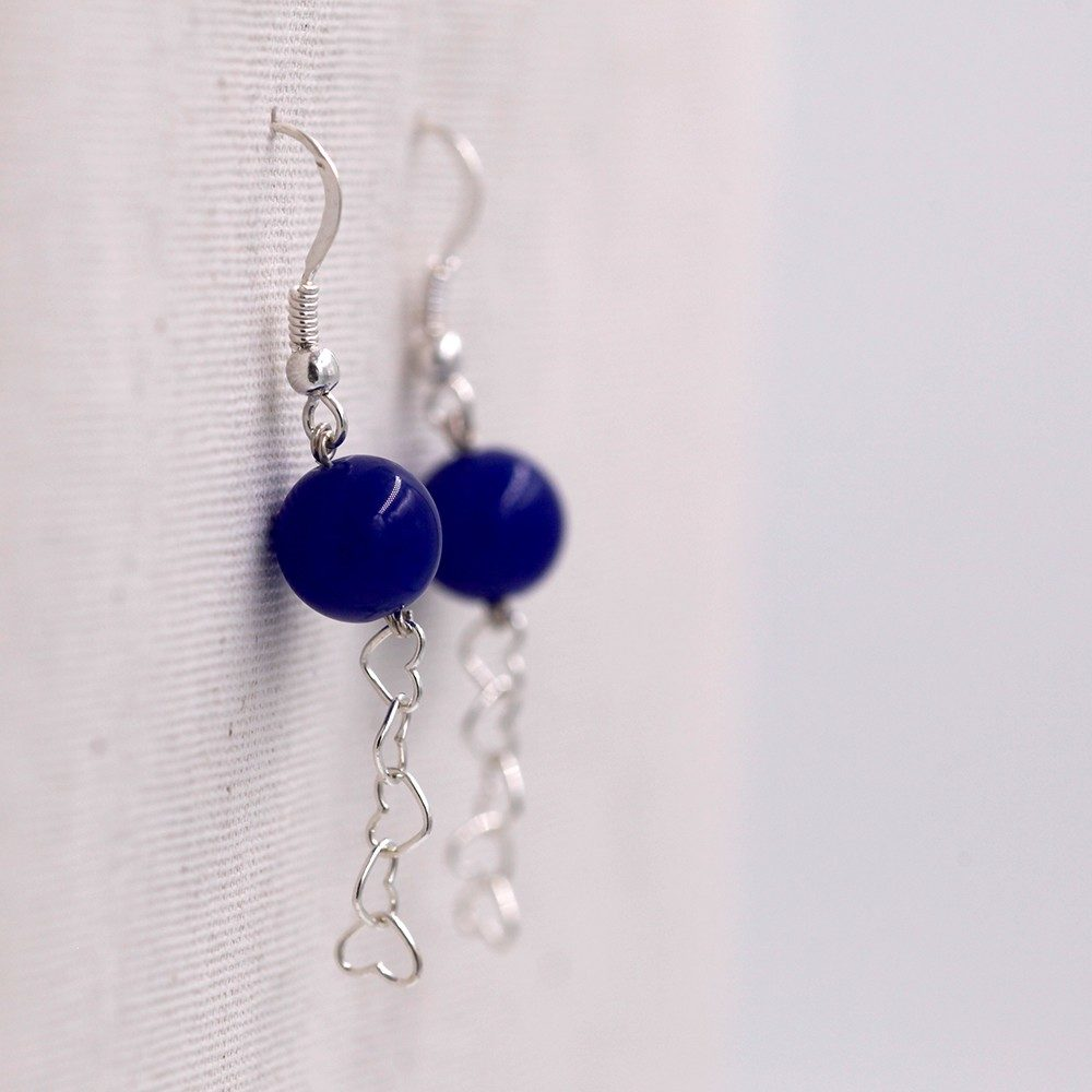 Boucles d'oreilles – Saphir et cœurs – ARGENT 925