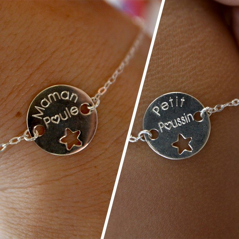 Duo de bracelets MAMAN BÉBÉ – Maman Poule – Petit Poussin – ARGENT 925
