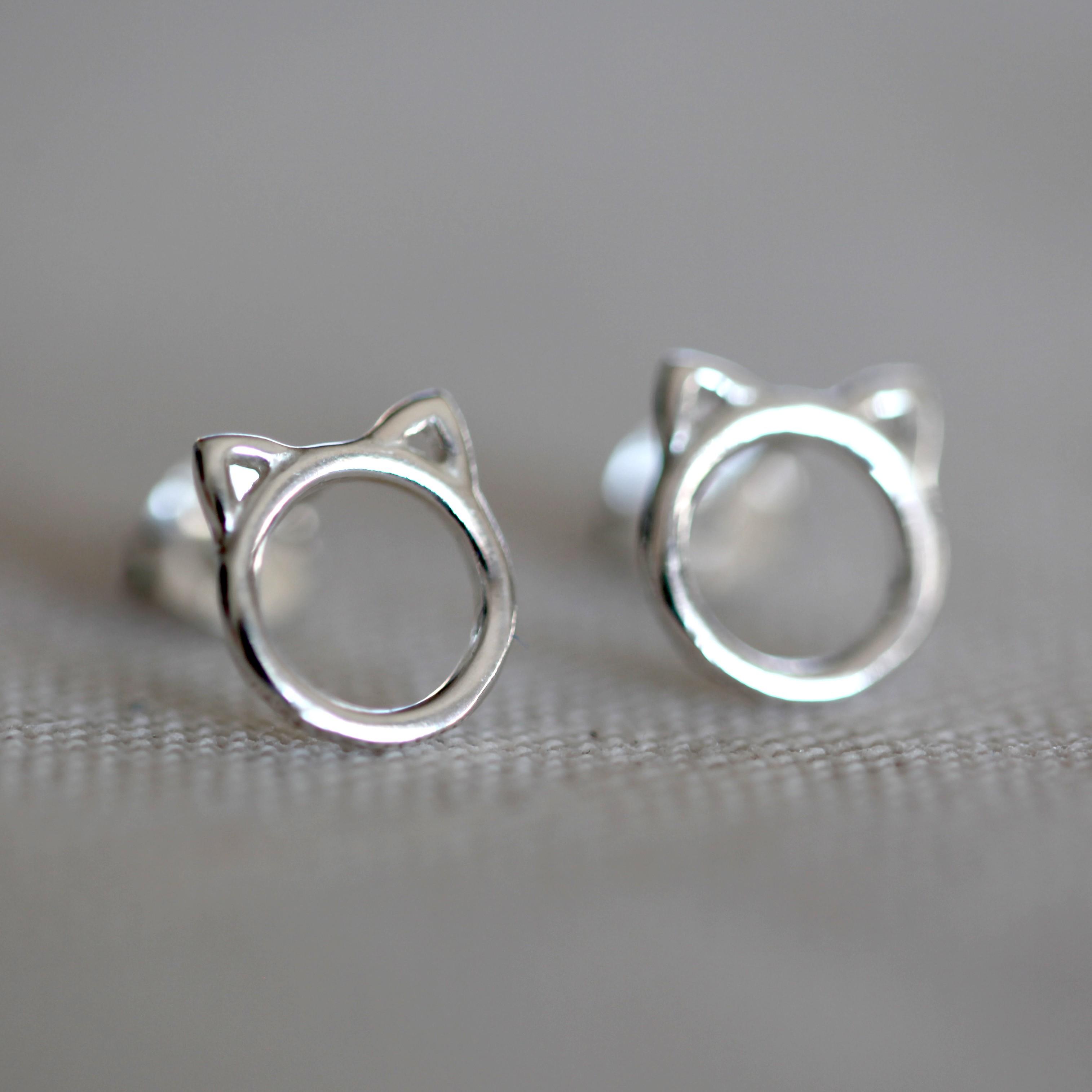 Boucles d'oreilles – fille – chat – ARGENT 925