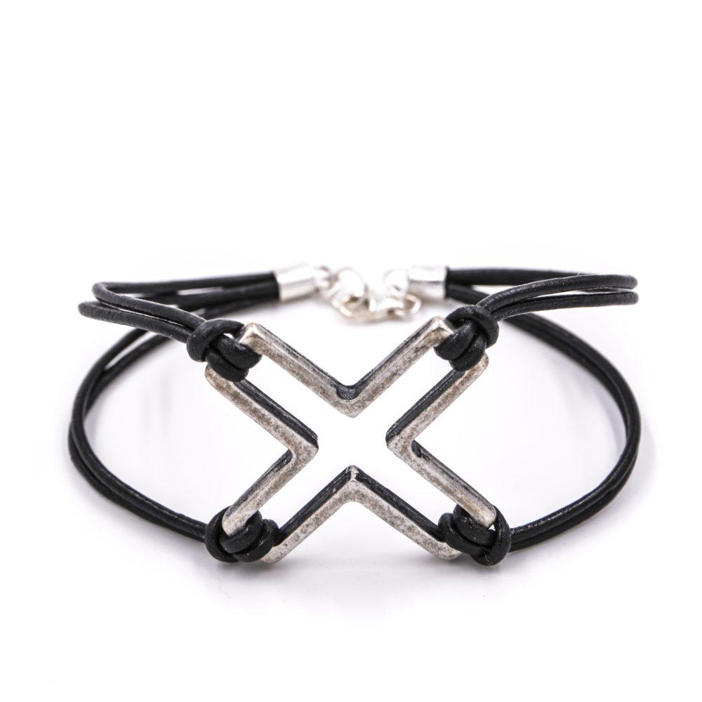 Bracelet homme – Croix – ARGENT 925 et Zamac