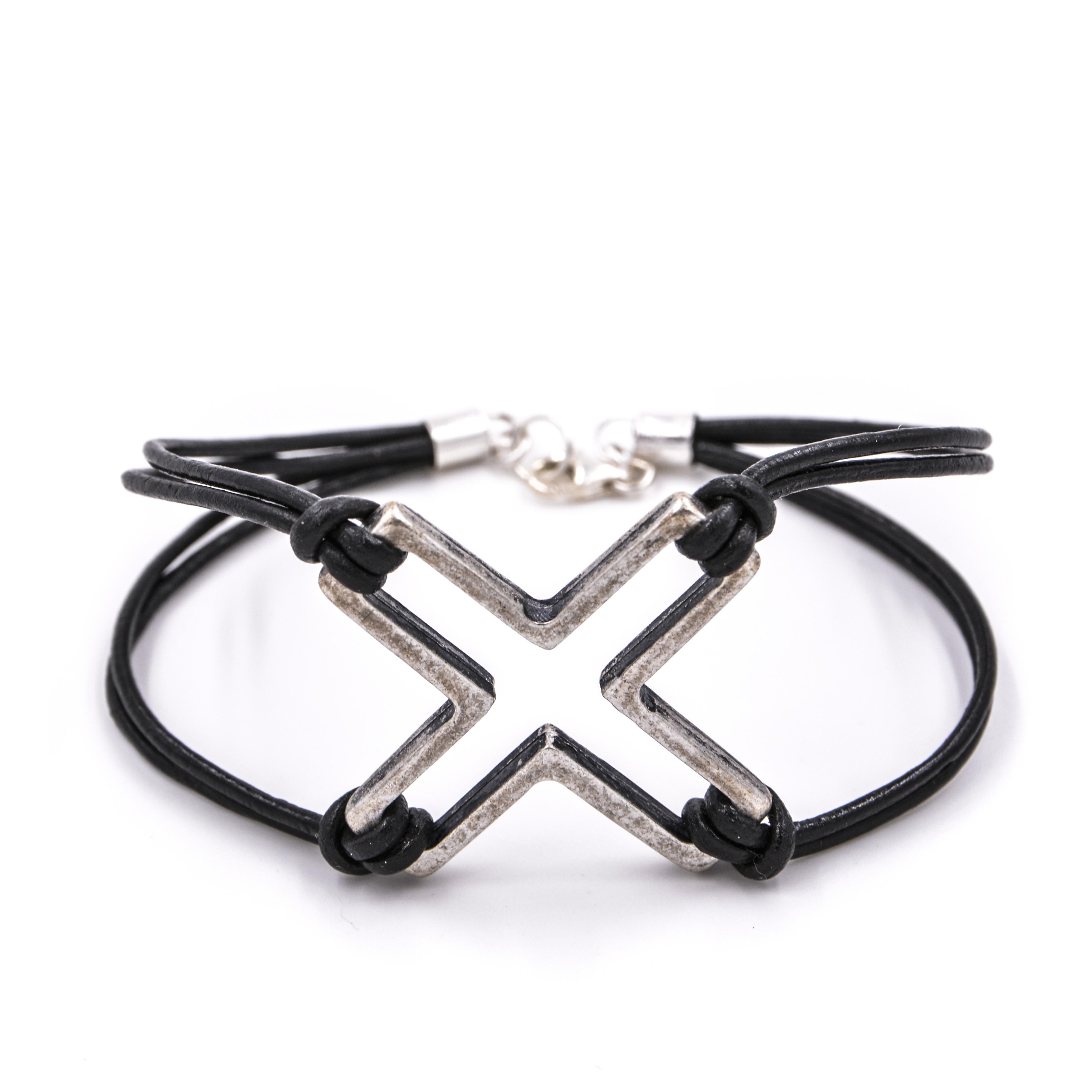bracelet homme cuir et croix