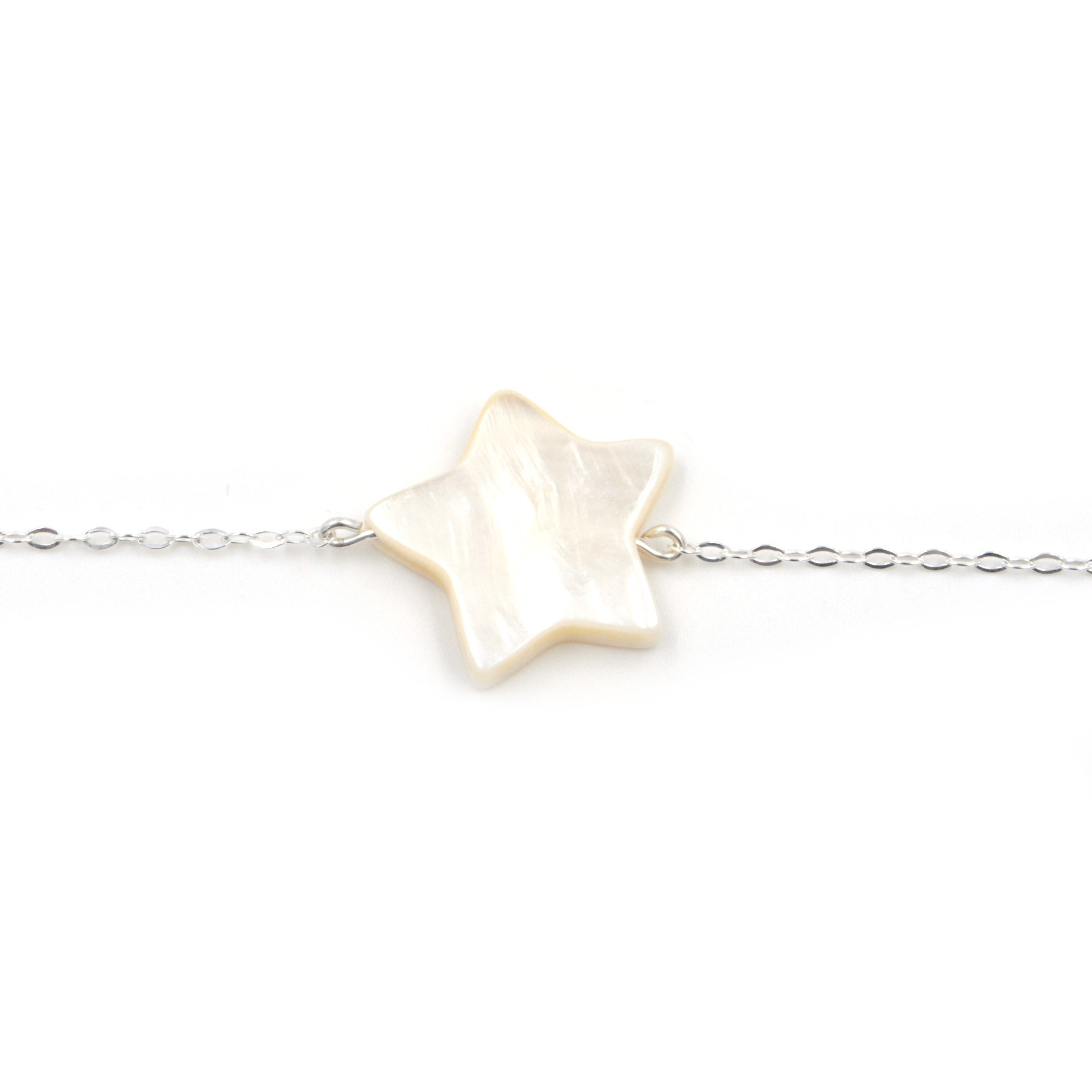 Bracelet MAMAN – Étoile nacre blanche – ARGENT 925