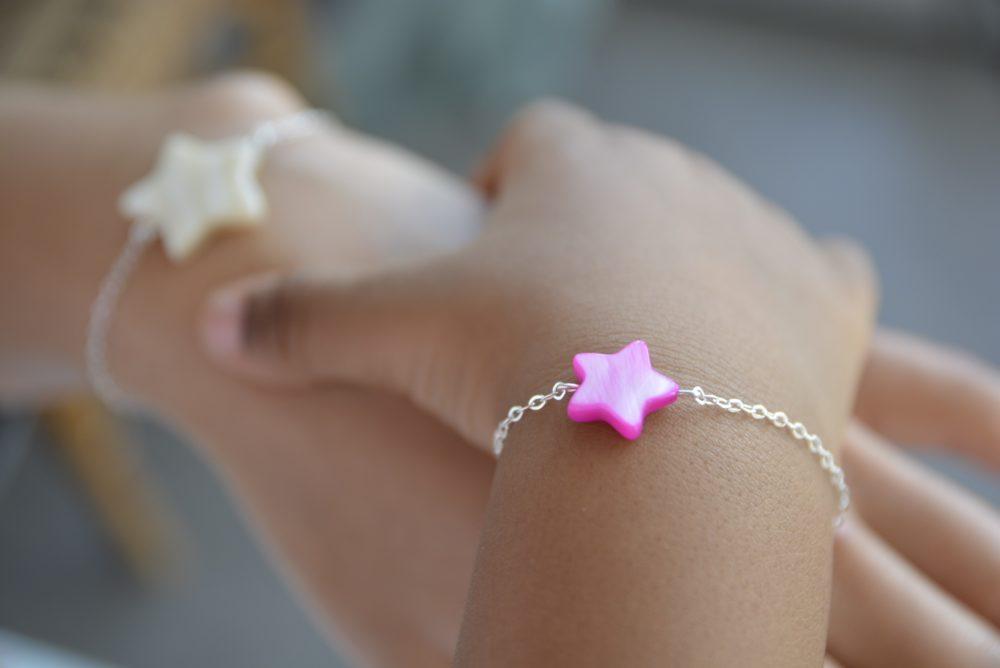 Bracelet BÉBÉ – Étoile rose – ARGENT 925