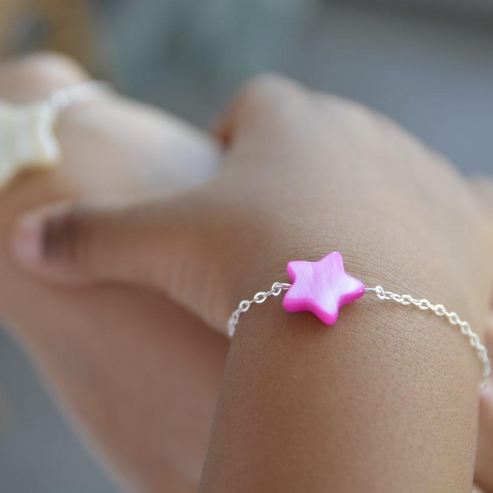 Duo de bracelets MAMAN BÉBÉ – Étoile nacre rose – ARGENT 925