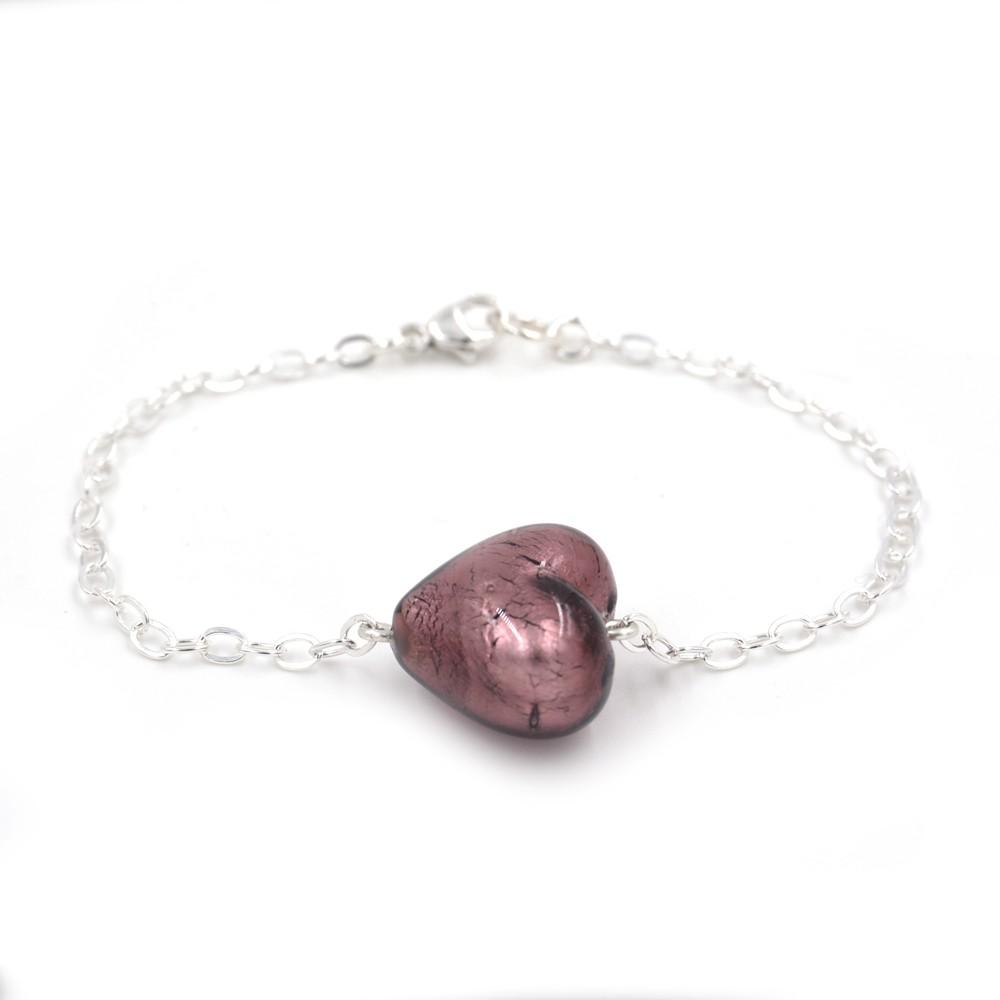 bracelet Murano coeur same bijoux argent