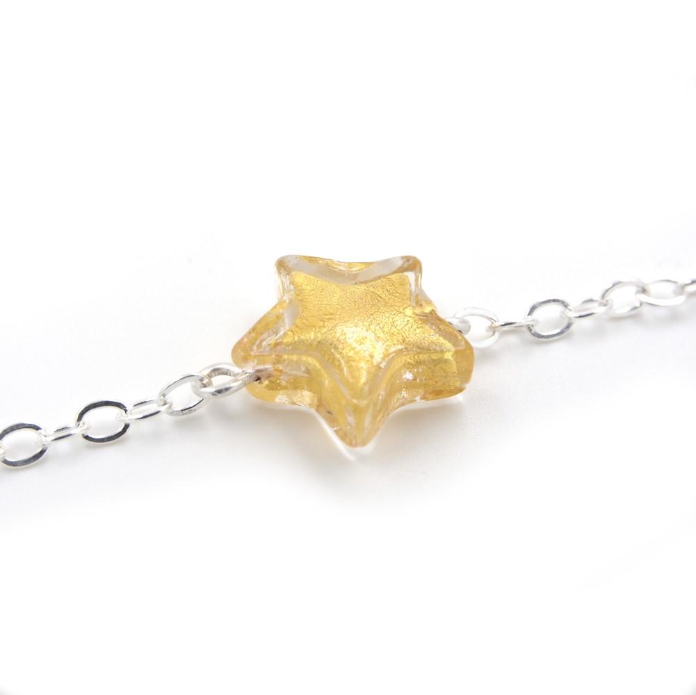 bracelet murano etoile or