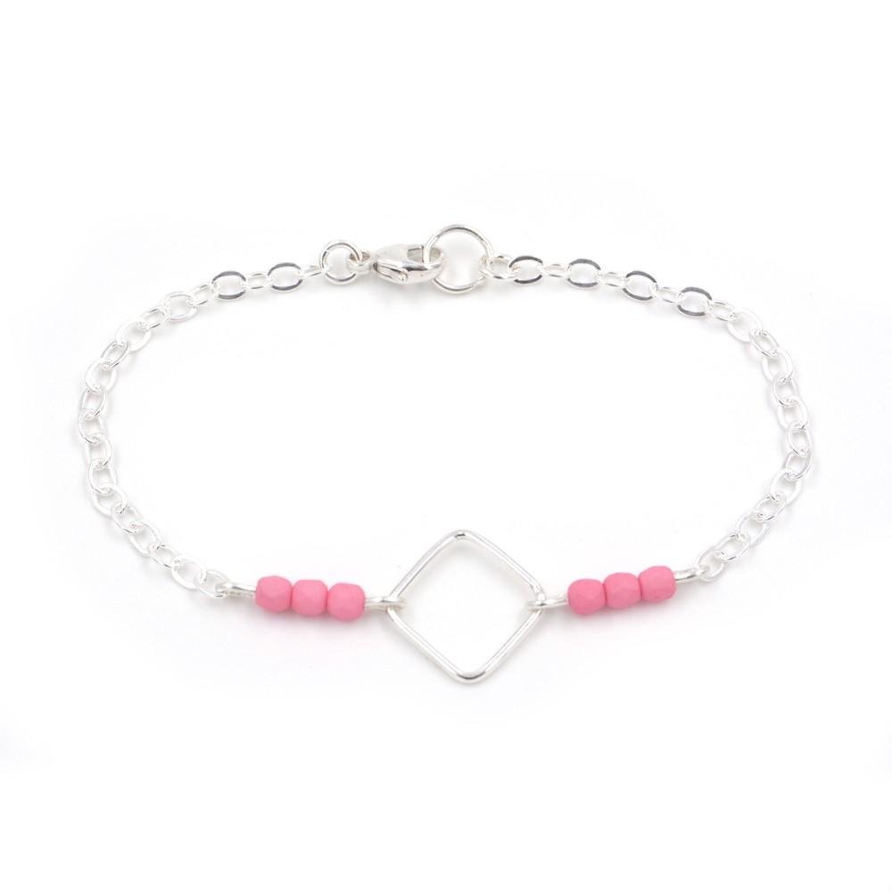 bracelet carré perles roses- argent 925 – fait main – samebijoux