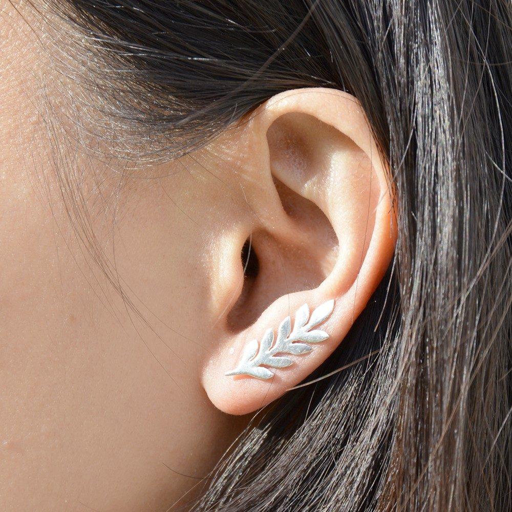 Boucles d'oreilles grimpantes Feuille – ARGENT 925