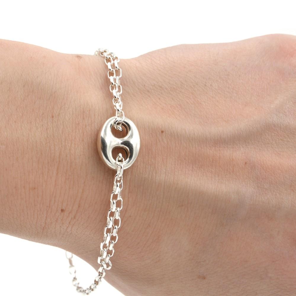 bracelet - graine de café - argent 925 - homme