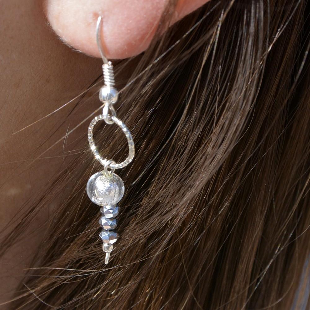 Boucles d'oreilles – Murano GREY – ARGENT 925