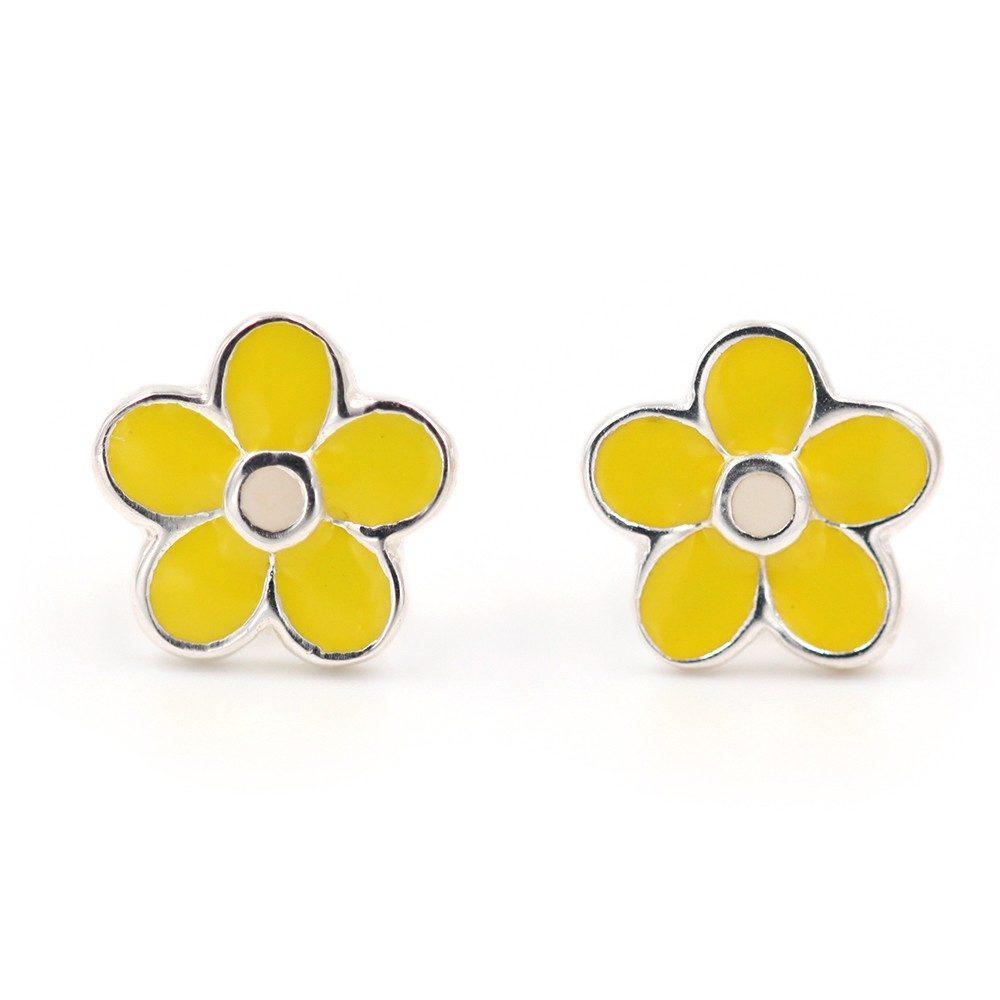 Boucles d'oreilles – Fleurs jaunes – ARGENT 925