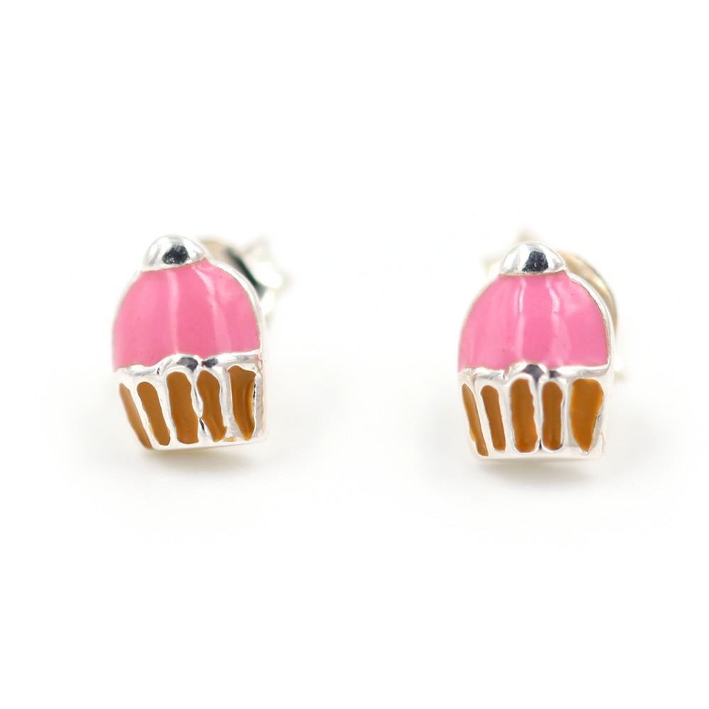 Boucles d'oreilles fille – cup cake – ARGENT 925