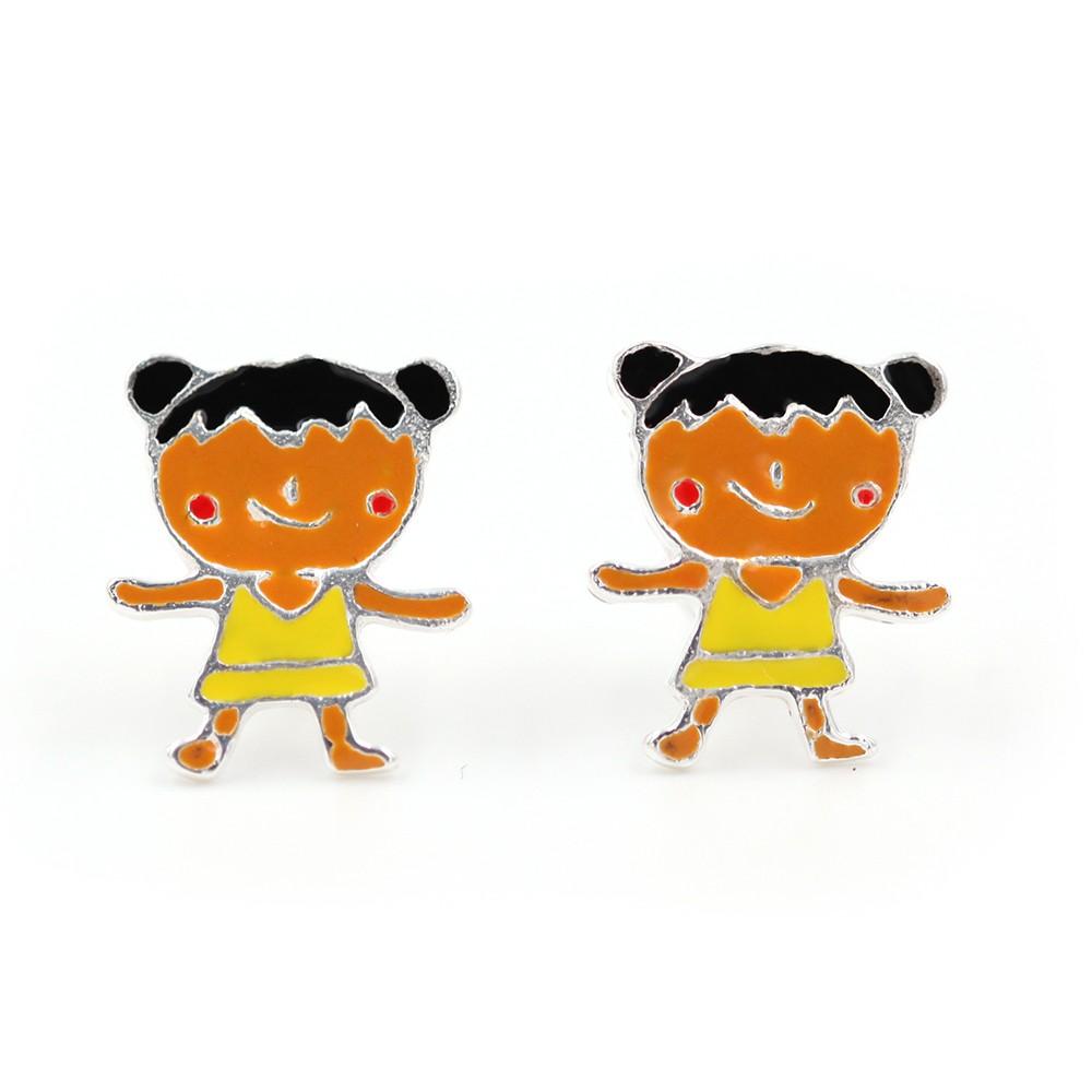 Boucles d'oreilles fille – brune – ARGENT 925
