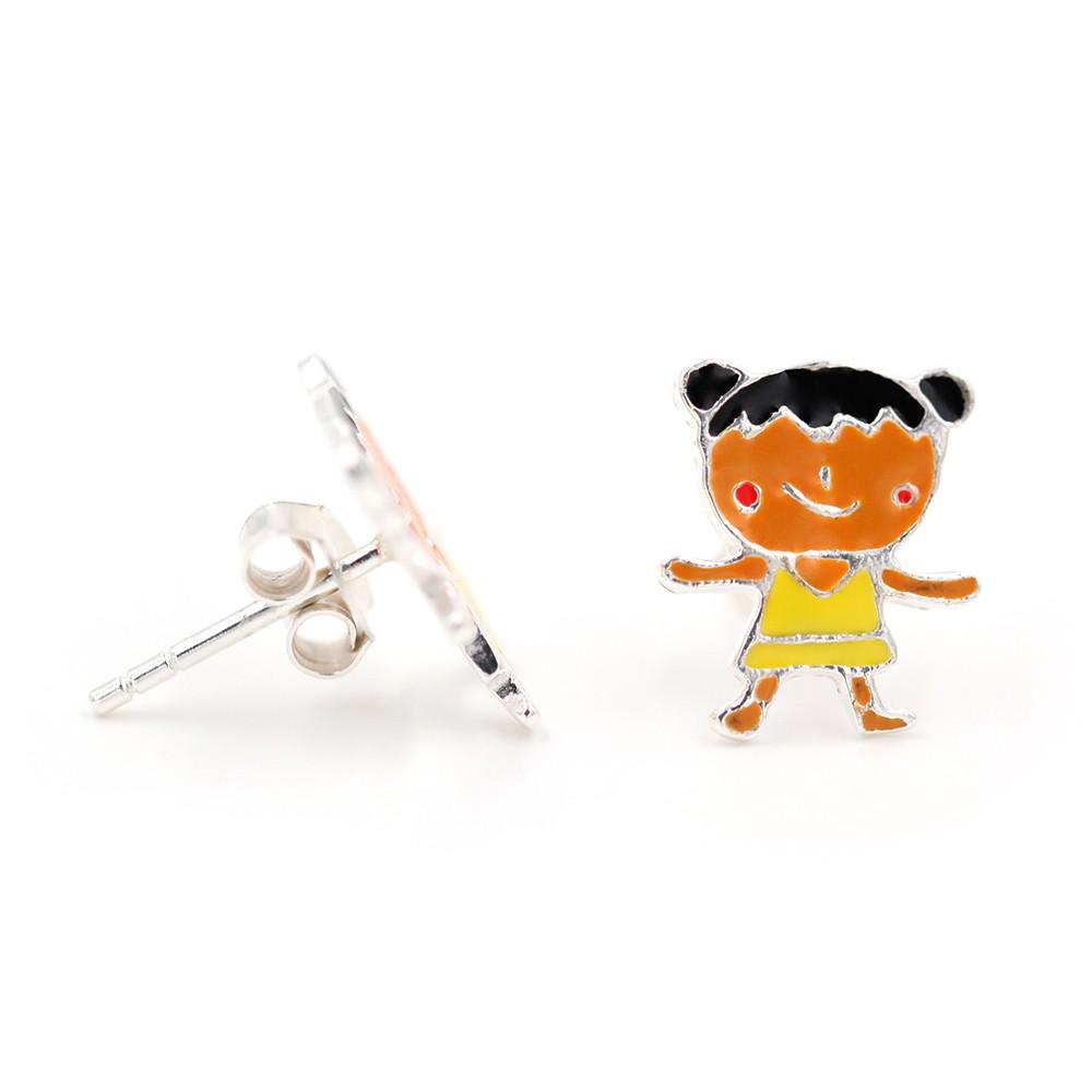Boucles d'oreilles – Fille brune – ARGENT 925