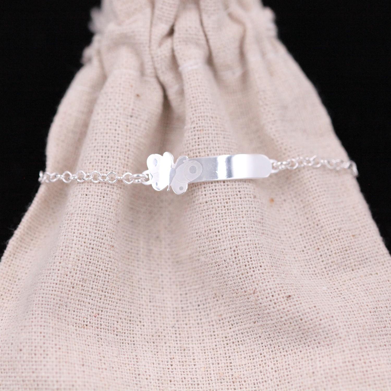 Bracelet gourmette papillon – fille – argent 925