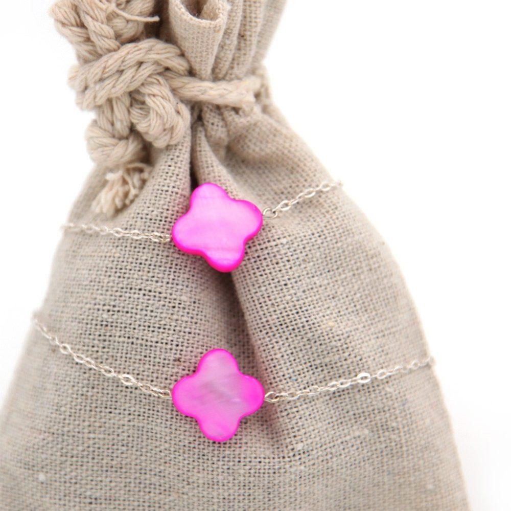 Duo de bracelets MAMAN BÉBÉ – Fleurs nacres roses – ARGENT 925