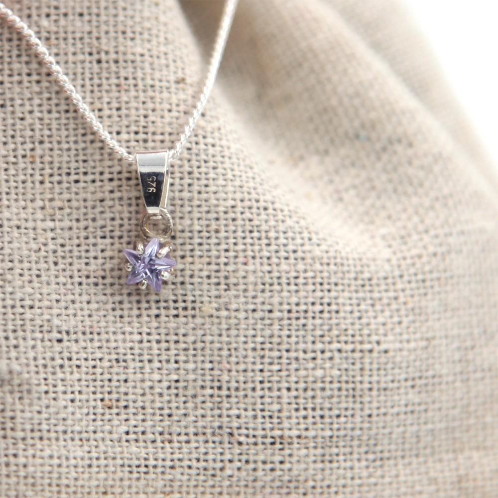 collier - etoile - violet - argent 925