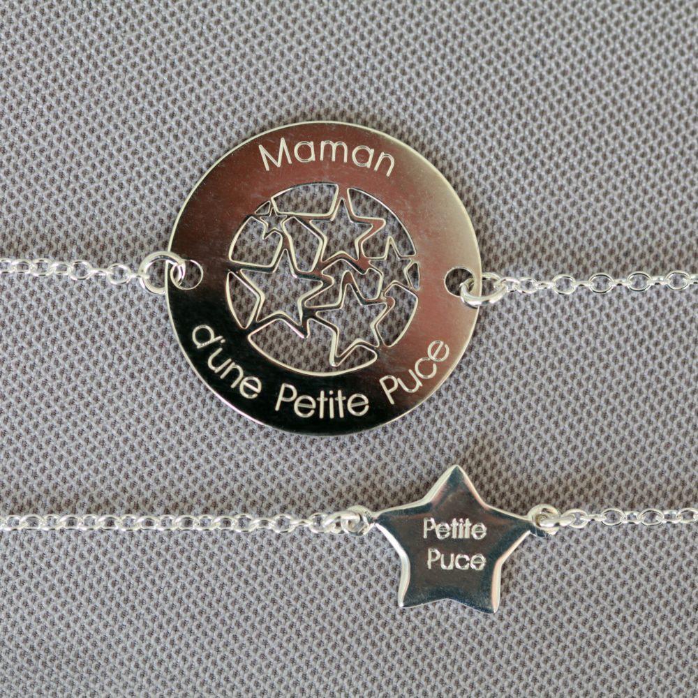 Bracelet MAMAN – Maman d'une Petite Puce – ARGENT 925