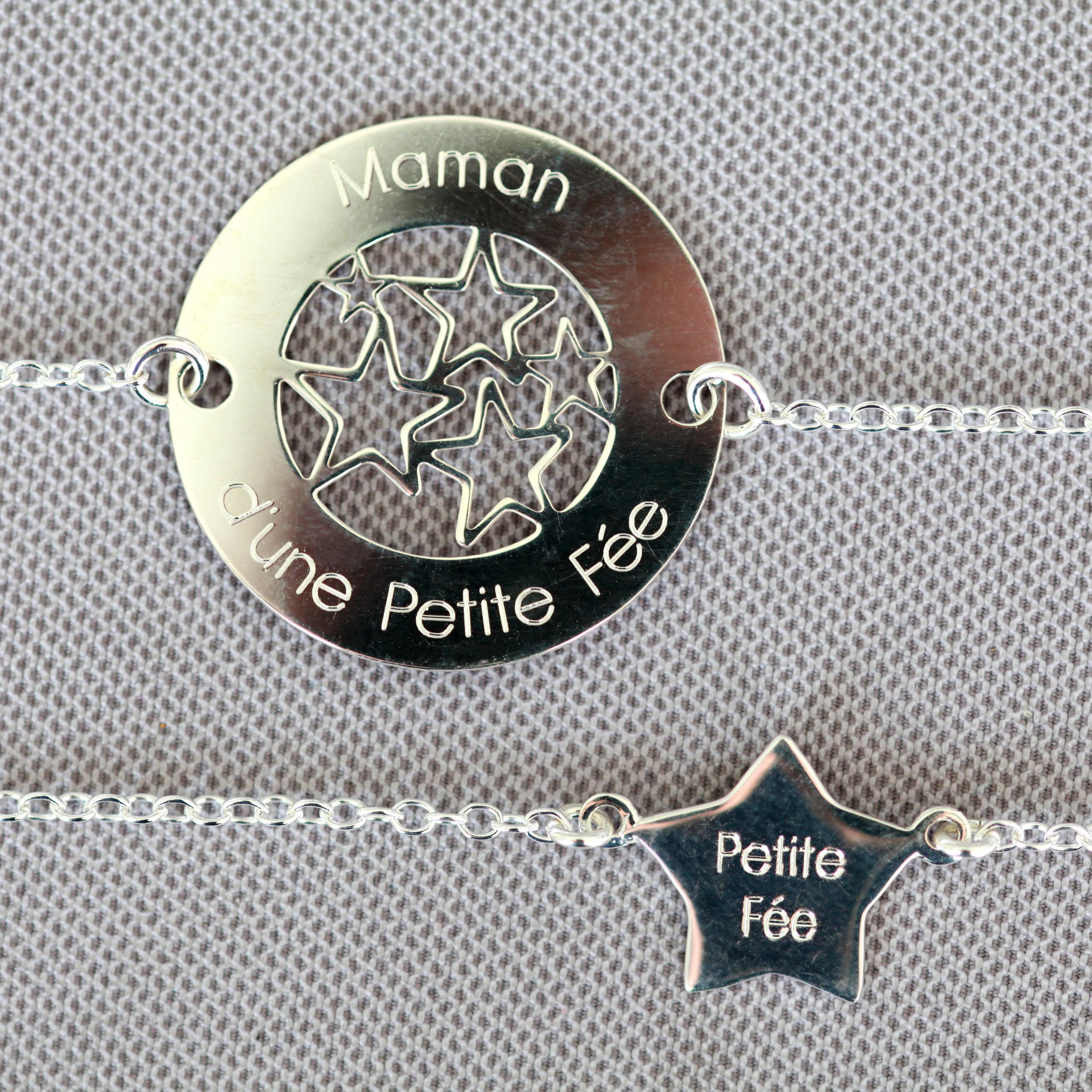 Duo de bracelets MAMAN BÉBÉ – Maman d'une Petite Fée – Petite Fée – ARGENT 925