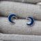 Boucles d'oreilles puce - fille - lune bleue - argent 925