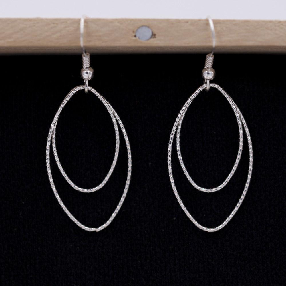 Boucles d'oreilles – Doubles ovales – ARGENT 925