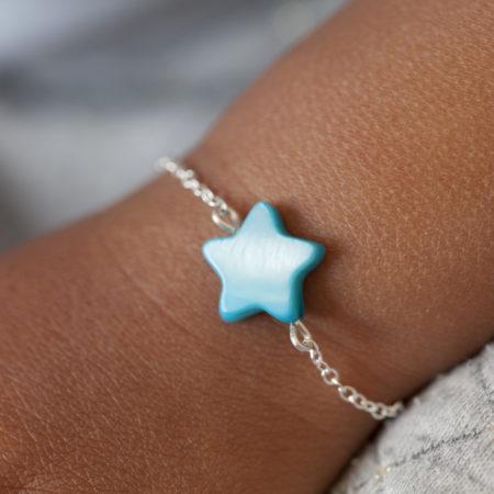 Duo de bracelets MAMAN BÉBÉ – Étoile nacre bleue – ARGENT 925