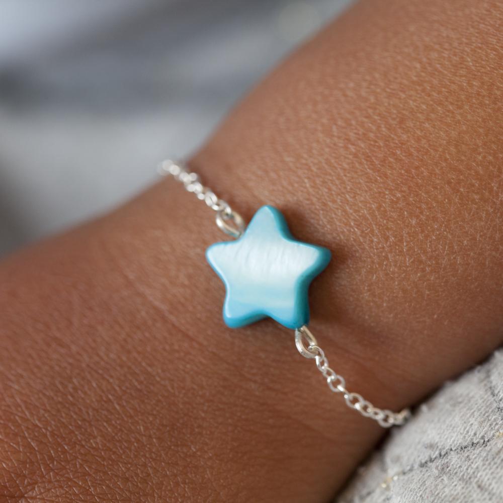 Bracelet BÉBÉ – Étoile bleue – ARGENT 925