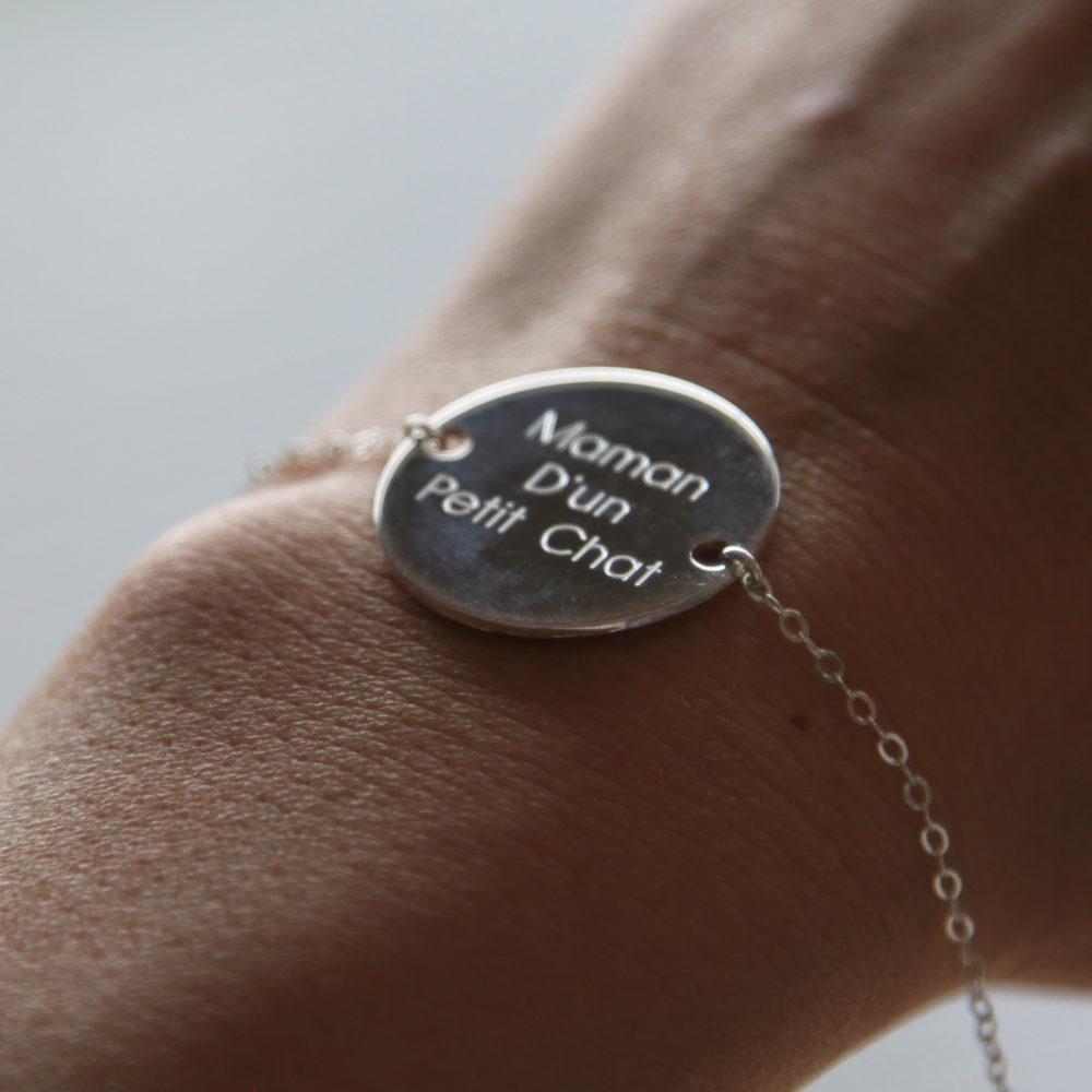 Duo de bracelets MAMAN BÉBÉ – Maman d'un Petit Chat – Petit Chat – ARGENT 925