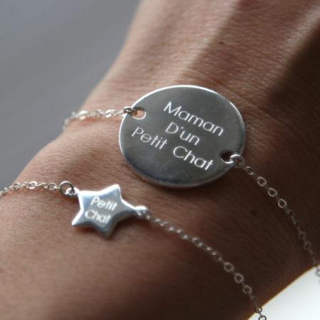 Duo de Bracelets pour femme gravé «Maman d'un Petit Chat » et pour son bébé «Petit Chat» – bracelet argent 925 – taille ajustable évolutive – idéal pour un cadeau de naissance, baptême ou anniversaire – bijou de créatrice de la marque Same Bijoux