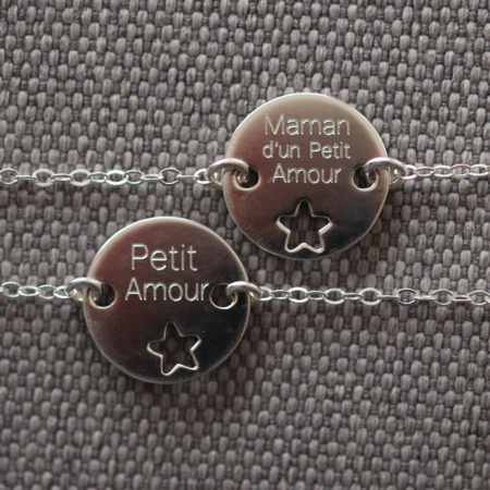 Duo de bracelets MAMAN BÉBÉ – à personnaliser – ARGENT 925