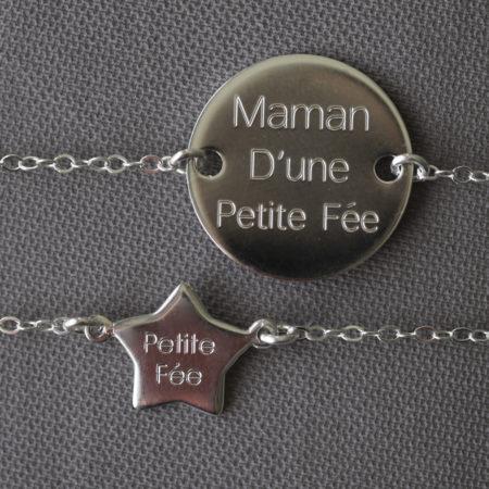 Duo de Bracelets pour femme gravé «Maman d'une Petite Fée» et pour son bébé «Petite Fée» – bracelet argent 925 – taille ajustable évolutive – idéal pour un cadeau de naissance, baptême ou anniversaire – bijou de créatrice de la marque Same Bijoux