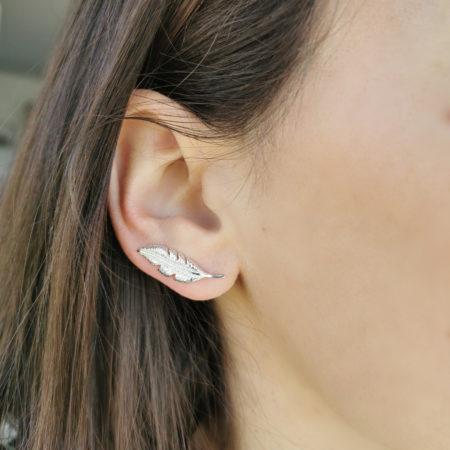 Boucles d'oreilles grimpantes plume – argent 925