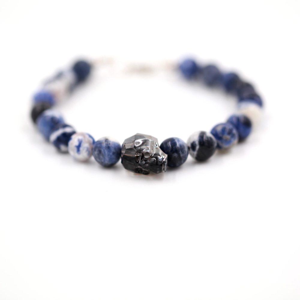 Bracelet homme – Tête de mort et Sodalite – ARGENT 925