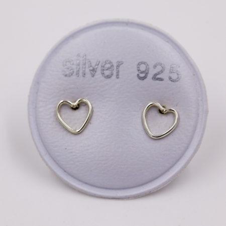 Boucles d'oreilles femme – coeur fin – argent 925