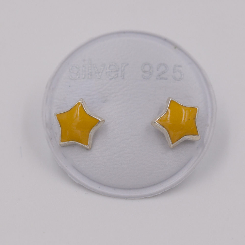 Boucles d'oreilles – Étoile jaune – ARGENT 925