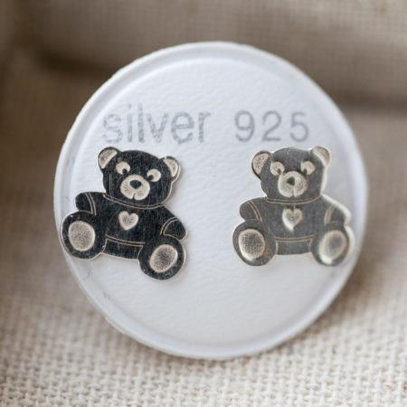 Boucles d'oreilles puce – fille – ourson – argent 925