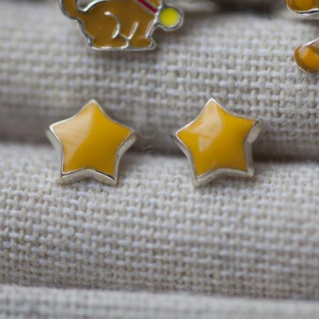 Boucles d'oreilles puce – fille – étoile jaune – argent 925