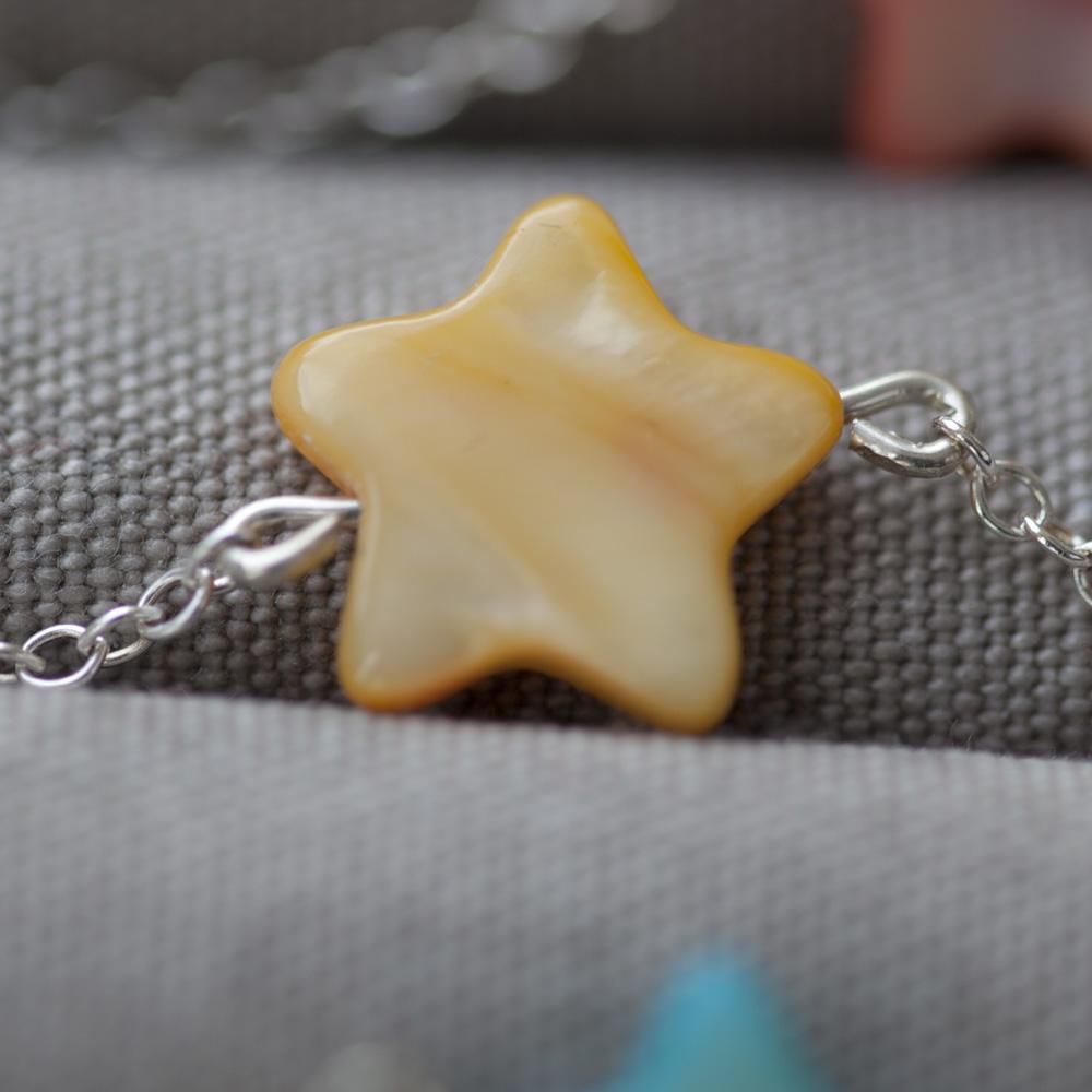 Bracelet étoile nacre jaune - pour bébé et enfant-argent 925