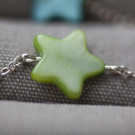 Bracelet étoile nacre vert – pour bébé et enfant-argent 925