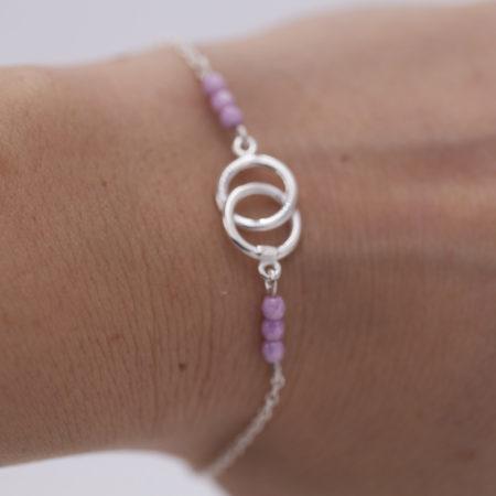 Bracelet entrelacé rose argent 925