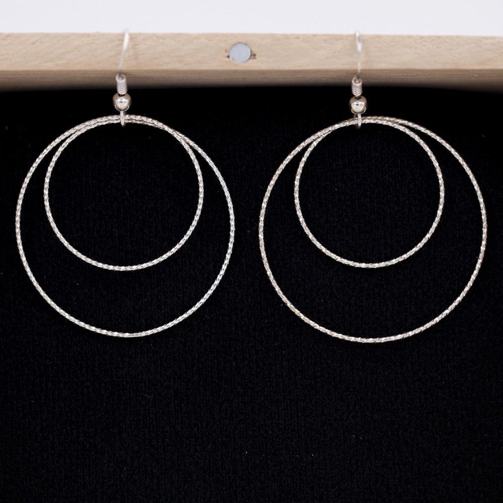 Boucles d'oreilles – Doubles cercles – ARGENT 925