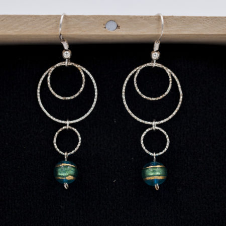 Boucles d'oreilles pour femme – argent 925 – Cercles et Murano turquoise