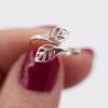 Bague ajustable – double feuille – ARGENT 925
