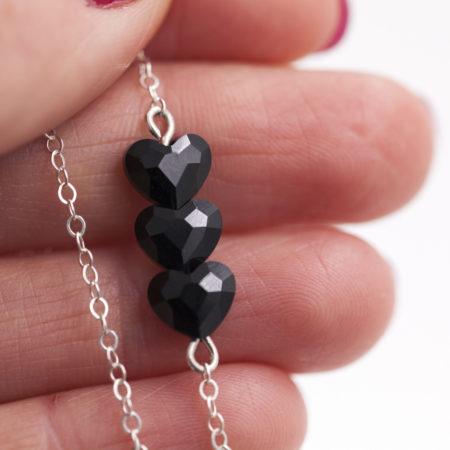 Bracelet Coeurs Swarovski noir – Argent 925 – ajustable