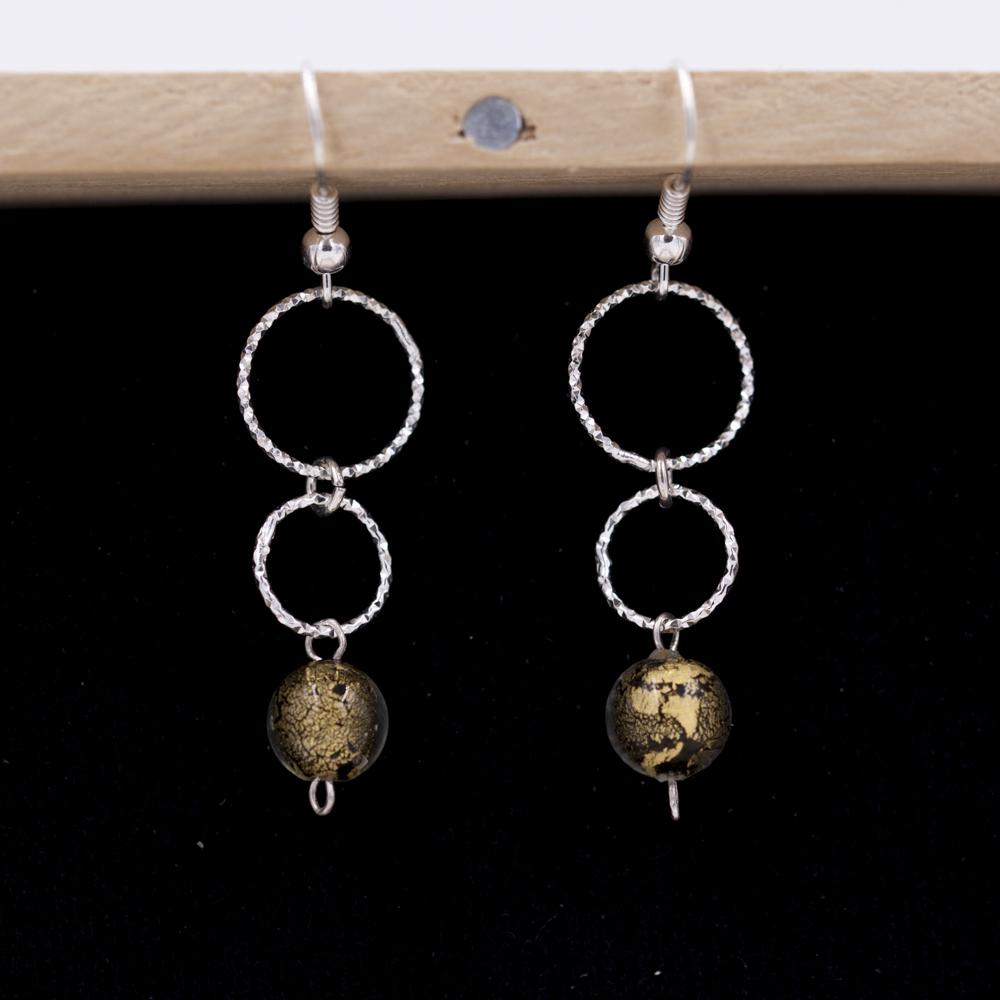 Boucles d'oreilles – Murano black moon – ARGENT 925