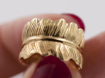 Jour 19 du calendrier de l'Avent Same bijoux : la bague plume ajustable – argent 925 doré