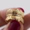 Bague – Plume ajustable – ARGENT 925 doré
